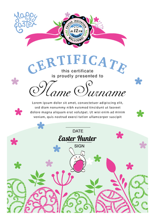 Easter white blue certificate with bunny, multicolored ornamental eggs. Pastel colors