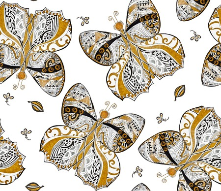 Gold, silver butterfly seamless pattern on white background. Abstract ornamental butterflies painted gold, silver, black pen Stok Fotoğraf