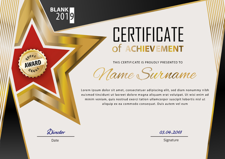 Official certificate with blue design elements. Business modern design. Gold emblem
