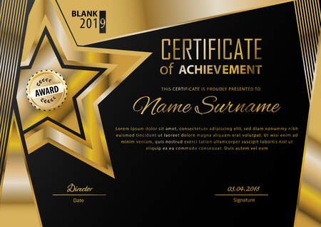 Official black certificate with gold design elements. Business modern design. Gold emblem