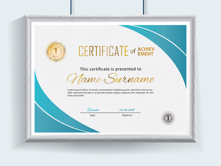 Official vector certificate with blue flat design elements and realistic grey border hanging on the wall. Business clean modern design Çizim