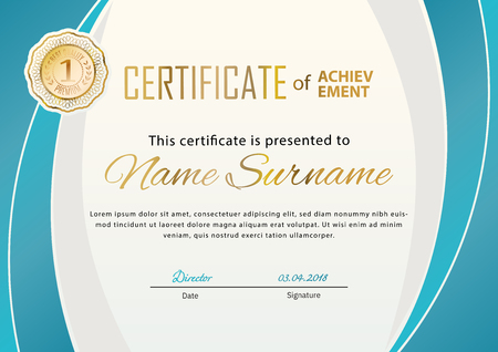 Official certificate with gold turquoise design elements. Business beige modern design. Gold emblem