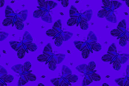 Blue batterfly seamless pattern for fabric, clothes