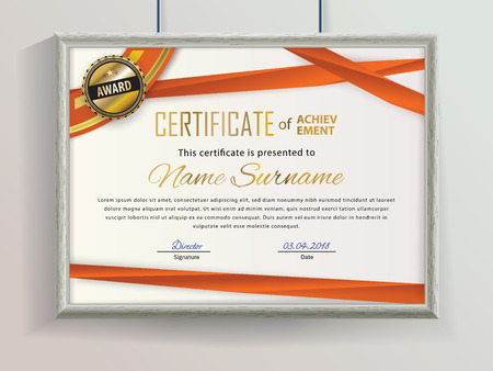 Official vector certificate with red ribbons and realistic grey border hanging on the wall . Business clean modern design Stok Fotoğraf
