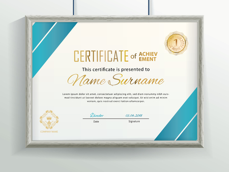 Official vector certificate with blue flat design elements and realistic grey border hanging on the wall. Business clean modern design Stok Fotoğraf
