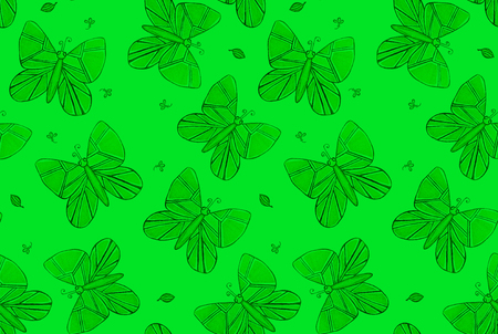 Green batterfly seamless pattern for fabric, clothes