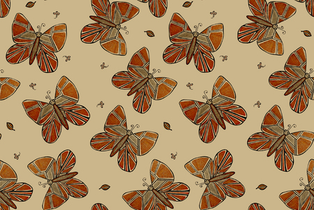 Beige batterfly seamless pattern for fabric, clothes Stok Fotoğraf