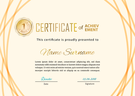 Official certificate with beige line design elements. Business beige modern design. Gold emblem Çizim