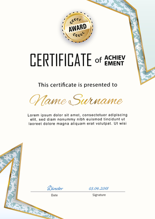 Official certificate with gold lines and marble design elements. Business beige modern design. Gold emblem Çizim