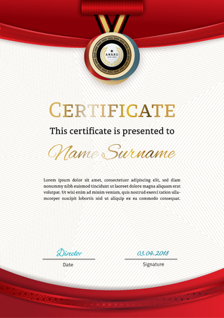Official certificate with red gold design elements. Modern blank