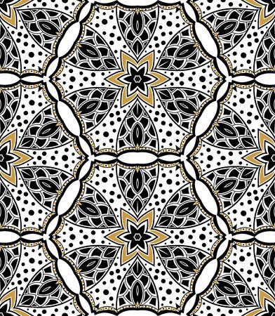 Black Gold seamless ornamental pattern on white background
