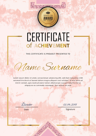 Pink certificate template. Luxury white pink marble with gold square for department cosmetic, parfume, stores, business