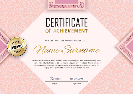 Pink certificate template. Luxury pink marble with gold square for department cosmetic, parfume, stores, business