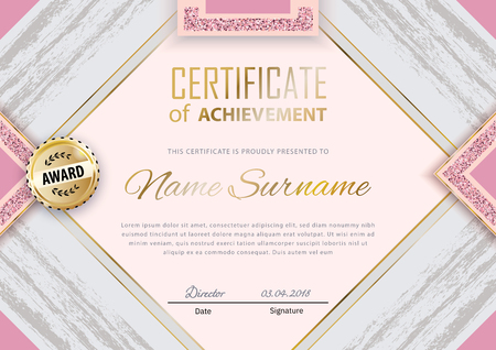 Pink grey grunge certificate template. Luxury pink marble with gold square for department cosmetic, parfume, stores, business Çizim