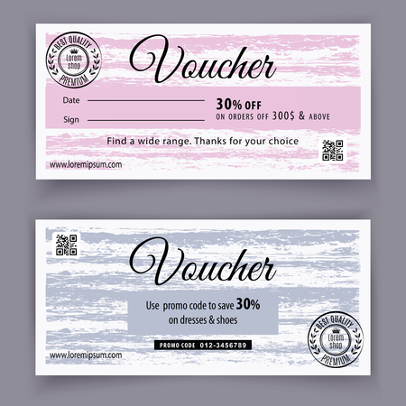 Voucher grunge template. Universal flyer for business and department stores. 30 off
