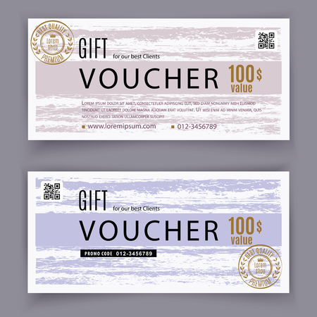Voucher grunge template. Universal flyer for business and department stores. 100 dpllars Illustration
