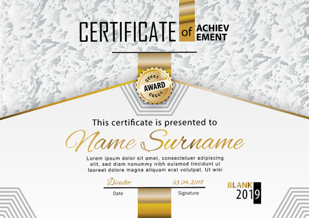 Official white grey certificate with gold line. Business clean modern design. Gold emblem