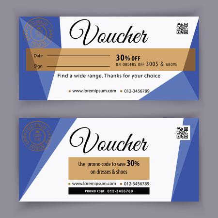 Modello del buono regalo con elementi di design del triangolo blu. Buono regalo del valore di 100 dollari per grandi magazzini, affari. Sfondo astratto