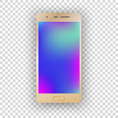 Mobile gold phone on transparent background. Vector illustration