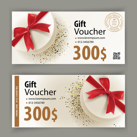 Voucher temolate with white gift and red bow. Value 300 dollars for department stores, business