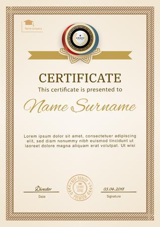 Official certificate with beige simple border. Business beige modern design. Gold emblem. Ilustración de vector