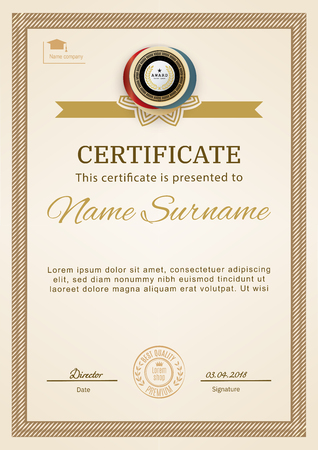 Officieel certificaat met beige eenvoudige rand. Zakelijk beige modern design. Gouden embleem. Vector Illustratie