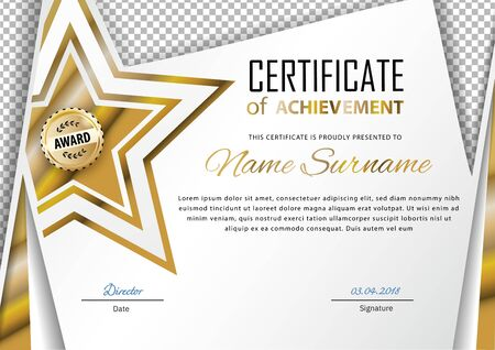 Official certificate with gold, transparent design elements and gold star. Business modern design. Gold emblem.