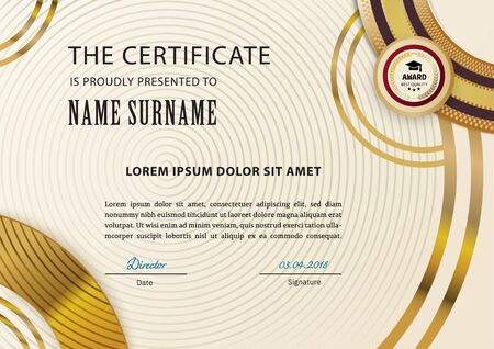 Official certificate with arc gold design elements. Vintage modern blank with gold emblem