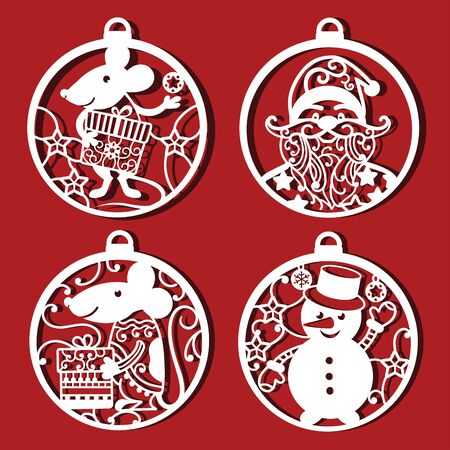 Rat, Santa Claus and Snowman cutting Icons. Chinese symbol with gift in Christmas ball. Symbol of 2020