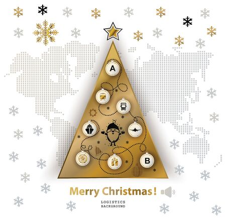 Christmas logistics card. Schematic christmas tree on schematic world map. Flat gold black icons on white background.
