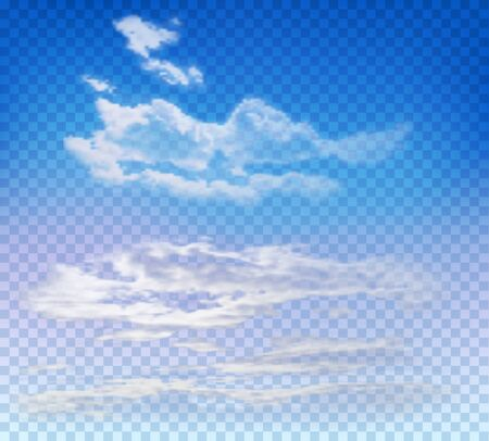 Nubes en el cielo azul de la tarde sobre fondo transparente. Plantilla de vectores para ilustraciones