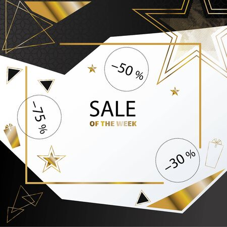 Official white square banner with gold black triangles, line . Business clean modern design