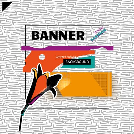 Square abstract fashion banner with lily in pop art style