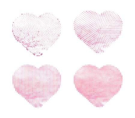 Halftone vector hearts on white background. Set of Simple shapes for template. Halftone effect made from watercolor heart