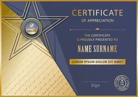 Official certificate with gold blue gold triangles, line . Business modern design. Black emblem