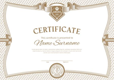 Official white certificate with vintage modern border and emblem. Business modern design
