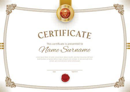 Official white certificate with vintage modern border and emblem. Business modern design. Gold emblem.