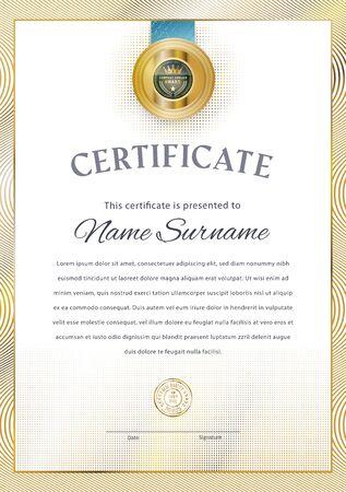 Official white certificate with vintage modern gold border and gold emblem. Business modern design..