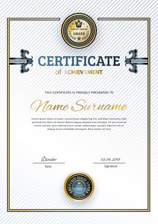 Official white certificate with gold square. Business modern design. Gold emblem