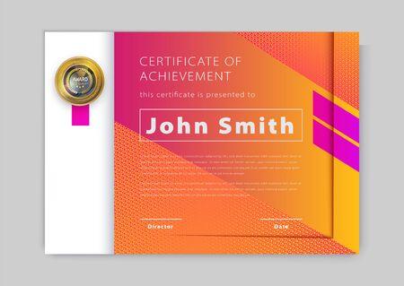Official orange certificate with pink design elements. Modern blank with gold emblem. Vector illustration.