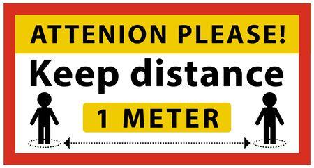 rectangular Coronavirus sign. Attenion please. Keep distance at least 1 meter between people. Information warning sign Ilustração Vetorial