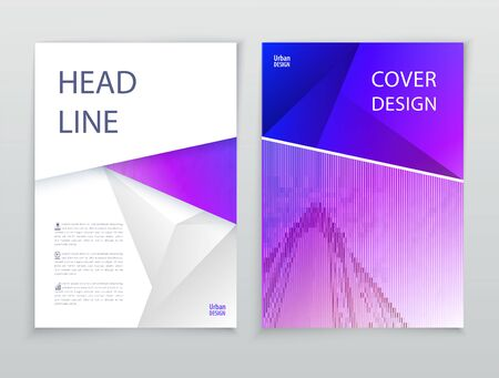 Business template. Violet Pink Flayer or advertising abstract background for delivery, energy business. White triangle background