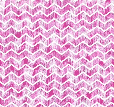 Grunge zig-zag stripes on pink grunge hand made background. Pink white strokes seamless pattern for fabric, wrapping paper, Summer spring background Stok Fotoğraf