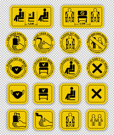 Warning signs on transparent background.. Keep distance between people. Do not sit here. Keep safe distance. Wash your hands.