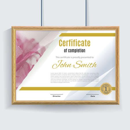 Official white pink certificate with brown realistic border on white wall background. Clean design, realistic effect shadow. Cerrificate hanging on the wall.