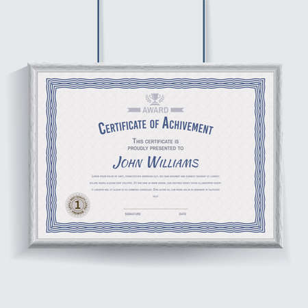 Official white blue certificate with grey realistic border on white wall background. Clean design, realistic effect shadow. Cerrificate hanging on the wall.