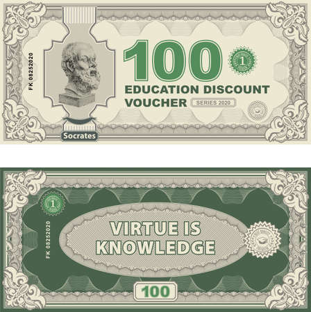 Vector money banknotes illustration with portrait of philosopher Socrates by sculptor Lisippo. classical statue . Back sides of money bills