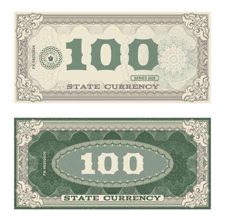 Vector money banknotes. Fake money illustration with floral border. Classical vintage style. Back sides of money bills