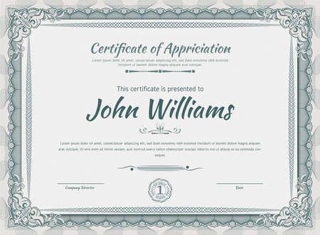 Official beige guilloche border for certificate. Vector illustration. Empty blank Vektorgrafik