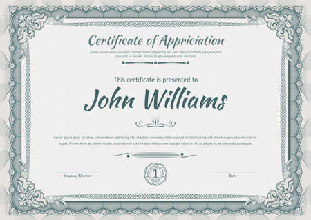 Official beige guilloche border for certificate. Vector illustration. Empty blank